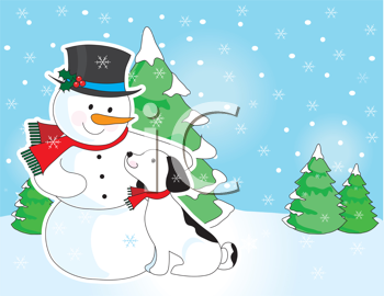Royalty Free Clipart Image of a Dog With a Snowman