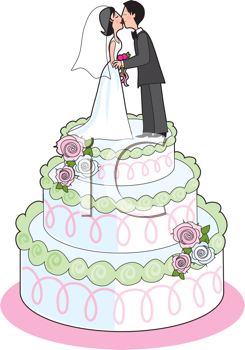 Royalty Free Clipart Image of a Couple Kissing on a Wedding Cake