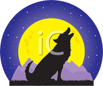 Royalty Free Clipart Image of a Wolf Howling