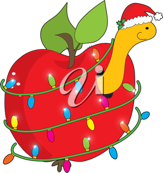 A cute, smiling apple worm wearing a Christmas hat, pokes his head out of an apple, wrapped round with Christmas lights.