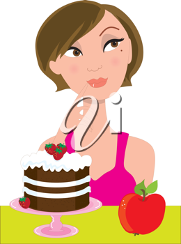 An attractive brunette in a pink dress, is trying to decide between an apple and a strawberry shortcake.