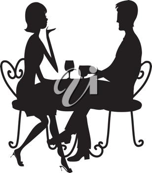 Royalty Free Clipart Image of a Silhouette of a Couple Having Wine at a Bistro Table