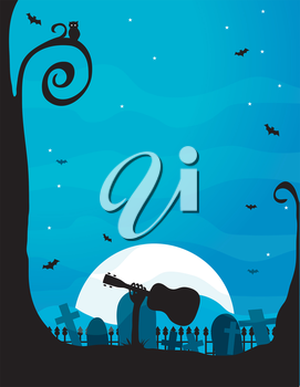 A silhouette of a spooky hand holding a ukulele is emerging from a grave in a cemetary - the moon is bright and there is an owl in the tree