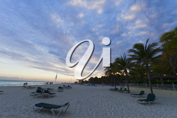 Sunset on the Caribbean beach.