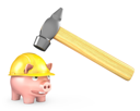 Piggy bank in yellow helmet under large hammer, isolated on white background