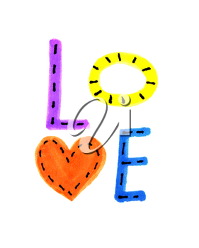 Word LOVE from colorful letters and heart symbol on white background