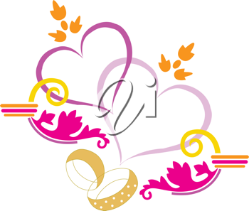 Royalty Free Clipart Image of Rings and Hearts