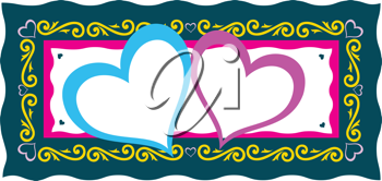 Royalty Free Clipart Image of Two Hearts in a Frame