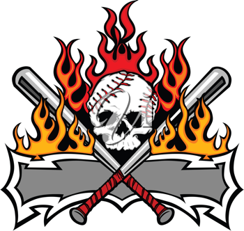 Royalty Free Clipart Image of Fire, a Skull and Baseball Bats