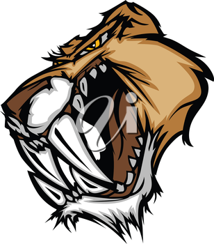 Graphic Vector Mascot Image of a Saber Cat Cougar Head