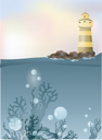 Royalty Free Clipart Image of a Lighthouse and Ocean