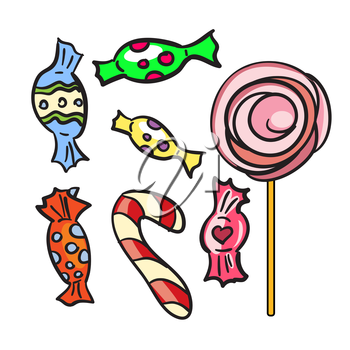 Collection of different doodle candy isolated on white background