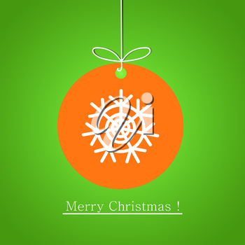 Modern flat design of Christmas ball with snowflake on green background