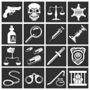 Royalty Free Clipart Image of Design Elements Relating to Law, Order, Police and Crime
