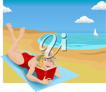 Royalty Free Clipart Image of a Woman Reading on the Beach