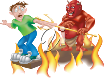 Royalty Free Clipart Image of a Devil Being Evil