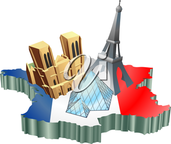Royalty Free Clipart Image of Some Tourist Attractions in France