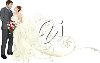 Royalty Free Clipart Image of a Bride and Groom