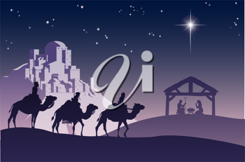 Royalty Free Clipart Image of a Nativity Scene