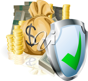 Royalty Free Clipart Image of Money Being Protected