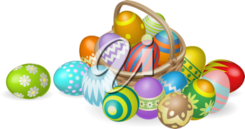 Royalty Free Clipart Image of a Basket of Easter Eggs