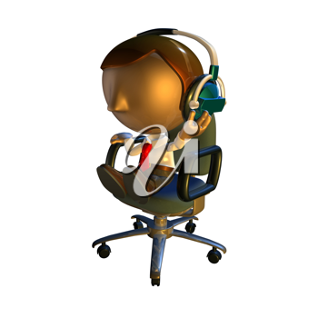 Royalty Free Clipart Image of a Man Sitting Down Wearing Headphones