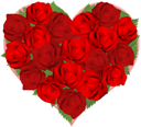 Illustrations of beautiful red roses in heart shaped arrangement