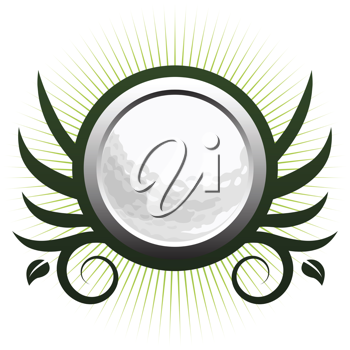 Royalty Free Clipart Image of a Golf Ball Icon
