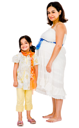 Pregnant woman smiling with her daughter and posing isolated over white