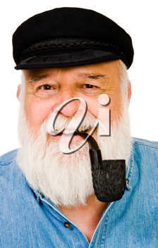 Senior man smoking with pipe isolated over white