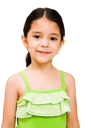 Girl posing and smiling isolated over white