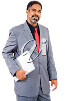 Mature businessman holding a laptop and smirking isolated over white