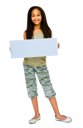 Portrait of a girl showing an empty placard isolated over white