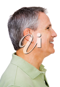 Close-up of a man smiling isolated over white