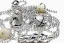 Close-up of silver assorted Christmas ornaments