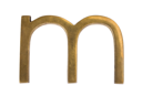 Close-up of letter 'm'