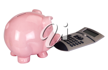 Close-up of a piggy bank with a calculator