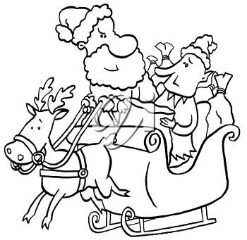 Royalty Free Clipart Image of Santa and an Elf in the Sleigh With a Reindeer