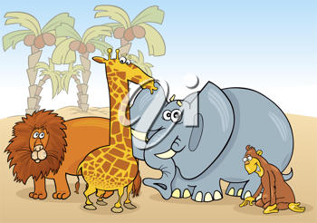 Royalty Free Clipart Image of a Group of African Animals