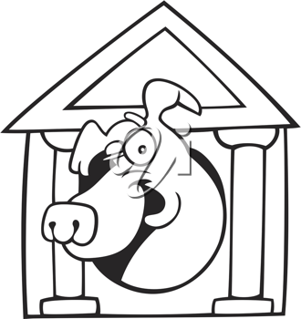Royalty Free Clipart Image of a Dog in a Doghouse With Columns