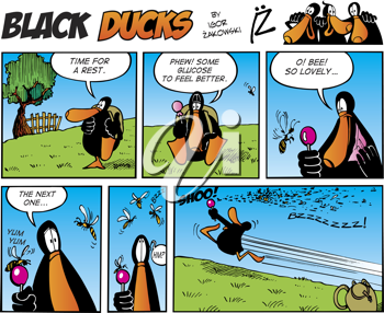 Royalty Free Clipart Image of a Black Ducks Comic Strip About a Bee