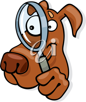 Royalty Free Clipart Image of a Dog With a Magnifying Glass