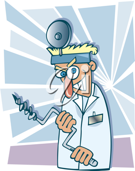 Royalty Free Clipart Image of a Crazy Dentist