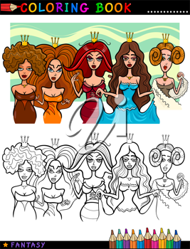 Coloring Book or Page Cartoon Illustration of Five Princesses or Queens Fairytale Characters