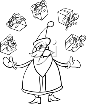 Cartoon Illustration of Funny Santa Claus or Papa Noel juggling Christmas Presents or Gifts for Coloring Book or Page