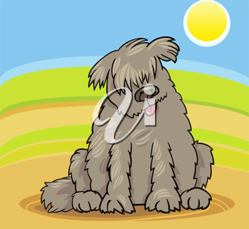 Cartoon Illustration of Funny Purebred Newfoundland Dog or Labrador Doodle or Briard against Blue Sky and Fields