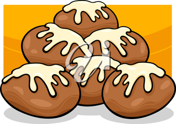 Royalty Free Clipart Image of Donuts With Icing