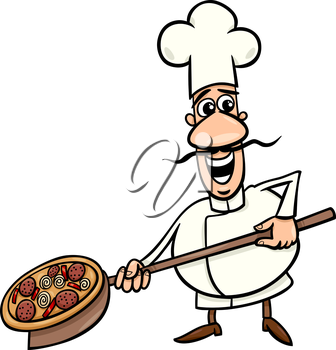 Cartoon Illustration of Funny Italian Cook or Chef with Pizza