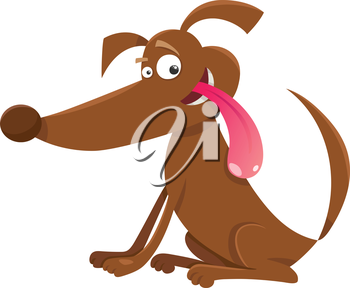 Cartoon Illustration of Happy Funny Dog or Puppy
