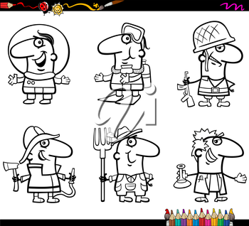 Coloring Book Cartoon Illustration of Professional People Occupations Characters Set